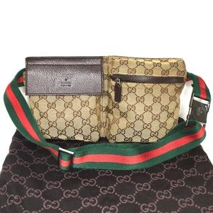 Authentic Gucci waist bag bum bag fanny pack brown